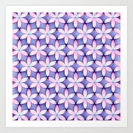 Daisies Pink Blue Art Print