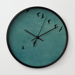 GEESE FLYING - TEAL Wall Clock