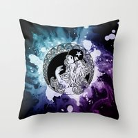 roller derby Throw Pillows featuring Nouveau Roller Derby World by Mean Streak