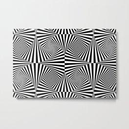Black And White Retro Optical Illusion Metal Print