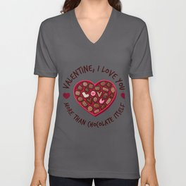 Chocolate Fans Funny Chocoholic Valentines Valentine print Unisex V-Neck