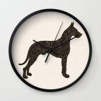 great dane Wall Clocks featuring Dog III - Great Dane by Alisa Galitsyna