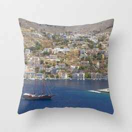 Symi Island in Greece Throw Pillow