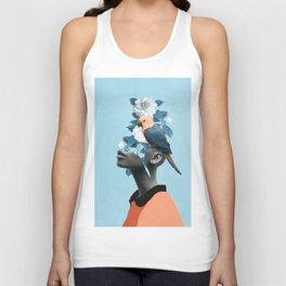 Girl with parrot Unisex Tank Top