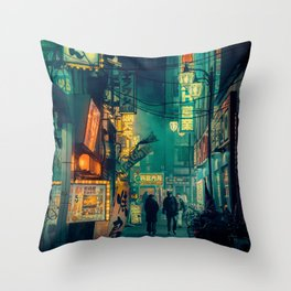 Tokyo Nights / Memories of Green / Blade Runner Vibes / Cyberpunk / Liam Wong Throw Pillow