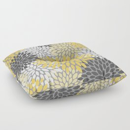 Modern Elegant Chic Floral Pattern, Soft Yellow, Gray, White Floor Pillow