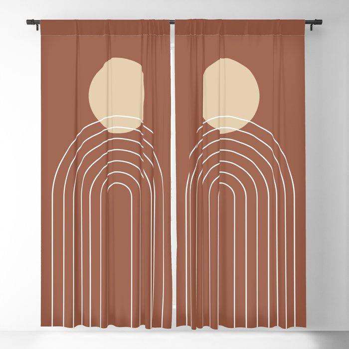 Mid Century Modern Geometric 3 (Terrocatta and beige) Blackout Curtain