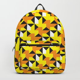 Geometric Pattern 214 (yellow orange black triangles) Backpack