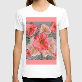 CORAL COLORED  PINK & CREAM DAYLILIES T-shirt