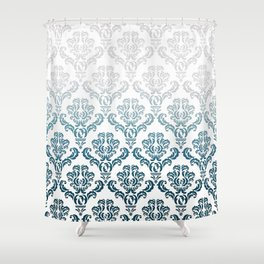 DAMASK GREY TO TEAL Shower Curtain