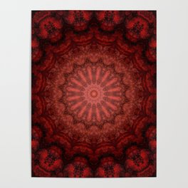 Bright red Bohemian mandala design Poster