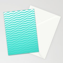 Turquoise Tropical Faded Ombre-Shaded Ocean Blue Green Sea Chevron Stationery Cards