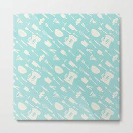In The Kitchen — Turquoise Metal Print