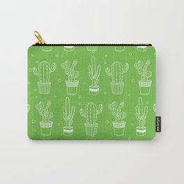 Green And White Cactus Succulent Pattern Carry-All Pouch