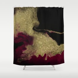 Black Honey - resin abstract painting, black and gold abstract art Shower Curtain