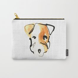 Black Ink and Watercolor Jack Russell Terrier Dog Carry-All Pouch