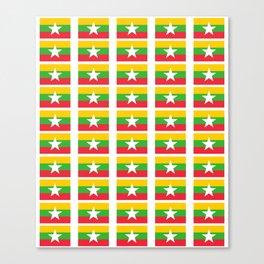 Flag of Myanmar 3-ဗမာ, မြန်မာ, Burma,Burmese,Myanmese,Naypyidaw, Yangon, Rangoon. Canvas Print
