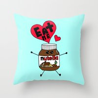 nutella Throw Pillows featuring Nutella by Aurelie