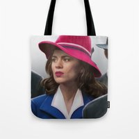 peggy carter Tote Bags featuring Agent Carter by DandyBee