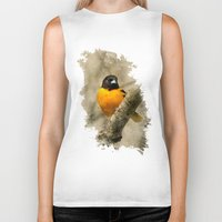 baltimore Biker Tanks featuring Baltimore Oriole Watercolor Painting by Christina Rollo