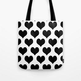 White Black Heart Minimalist Tote Bag