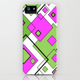 Pink And Green Diagonals iPhone Case