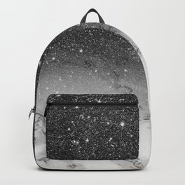 Stylish faux black glitter ombre white marble pattern Backpack