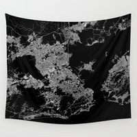 brazil Wall Tapestries featuring Rio map Brazil by Line Line Lines