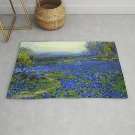 Meadow of Wild Blue Irises, Springtime by Maria Oakey Dewing Rug