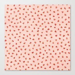 Ditsy Floral Petal Garden, Watercolor Leaves in Soft Pastel Pinks with Splashes of Red Canvas Print
