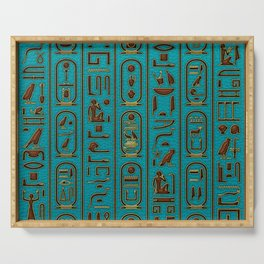 Egyptian Golden Leather hieroglyphs embossed on teal Serving Tray
