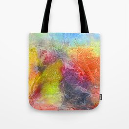 Watercolor multicolored texture, abstract paint stains, crumpled paper, wrinkles Tote Bag