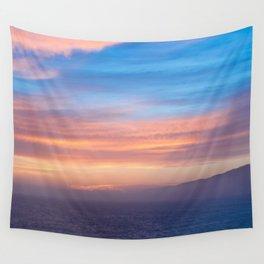 Blue Dreams Sunset - Ocean Sunset, Landscape, Scenery, Beautiful Orange Yellow Wall Tapestry