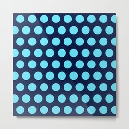 Two Blues Polka Dots in Navy Blue and Turquoise  Metal Print