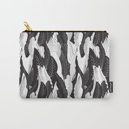 Floating Leaf in Black and White Carry-All Pouch