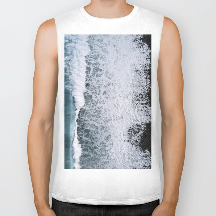 Aerial of a Black Sand Beach with Waves - Oceanscape Biker Tank