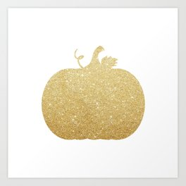 Gold Glitter Pumpkin Art Print
