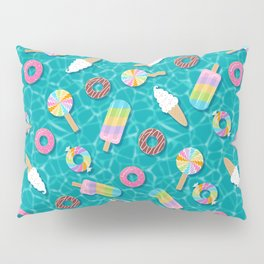 Sweet Treats Pool Floats Pattern – Turquoise Pillow Sham