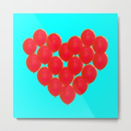 Red balloons in heart Metal Print