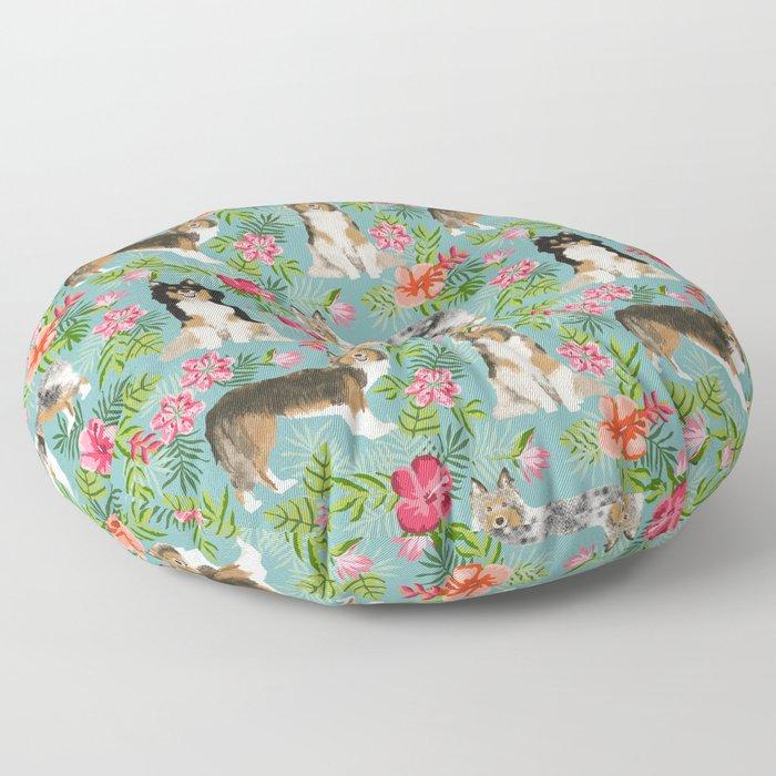 Sheltie shetland sheepdog hawaii floral hibiscus flowers pattern dog breed pet friendly Floor Pillow