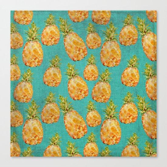 Summer pineapple fruit holiday fun pattern Canvas Print