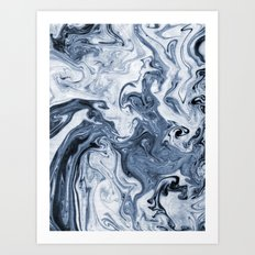 Isao - spilled ink art print marble blue indigo india ink original waves ocean watercolor painting  Art Print