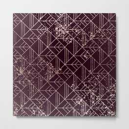 Art Deco Wine Red Gold Geometric Retro Pattern Metal Print