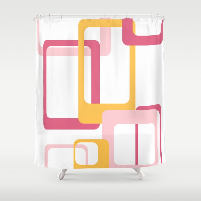 Retro Rectangles Pink And Yellow Shower Curtain
