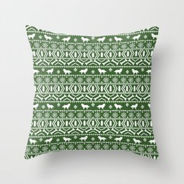 Border Collie fair isle christmas green and white holiday sweater dog breed gifts Throw Pillow