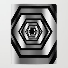 hexagon metallic art- digital realism Poster