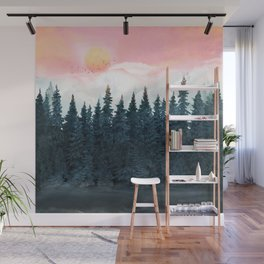 Forest Under the Sunset Wall Mural