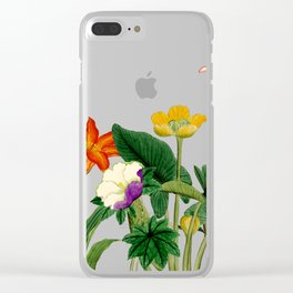 Vintage floral board white Clear iPhone Case