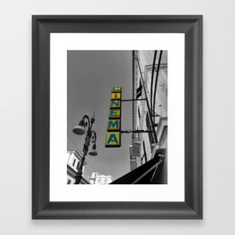 Yellow Cinema Sign in Bordighera Black and White Photography Framed Art Print