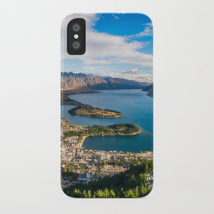 Queenstown Panorama at golden hour, New Zealand  iPhone Case by  danielaphotography